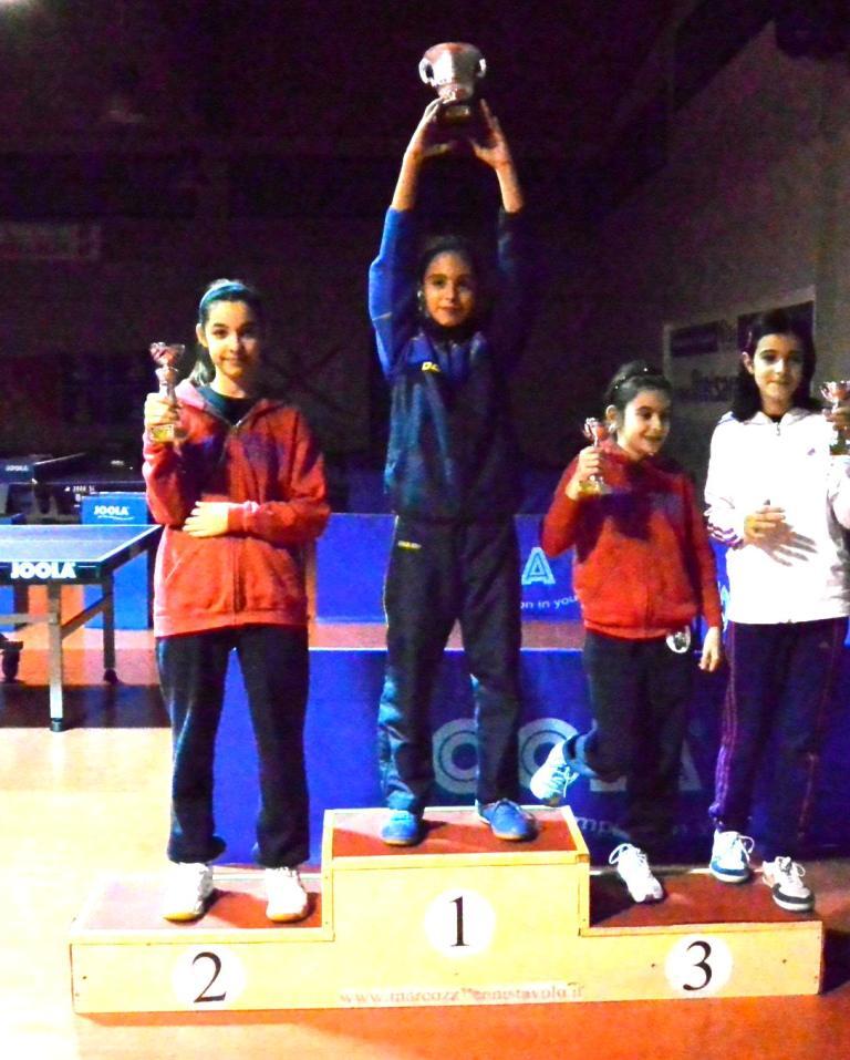 Il podio dei giovanissimi femminili (Foto Luciano Saiu)