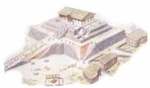 Ricostruzione del tempio di Monte d'Accoddi. Foto da leviedellasardegna.eu