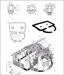 Ricostruzione ideale di una capanna preistorica partendo dalla planimetria delle domus de janas con raffigurazione architettonica