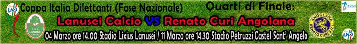 Quarti di finale Coppa Italia Dilettanti:4 marzo ore 14.00 stadio  Lixius Lanusei -- 11 marzo ore 14.30 stadio Petruzzelli  Castel Sant'Angelo.