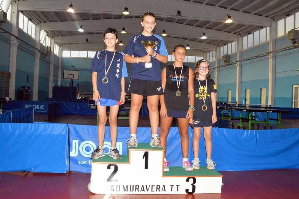 Il podio nel singolo femminile (Foto Luciano Saiu)