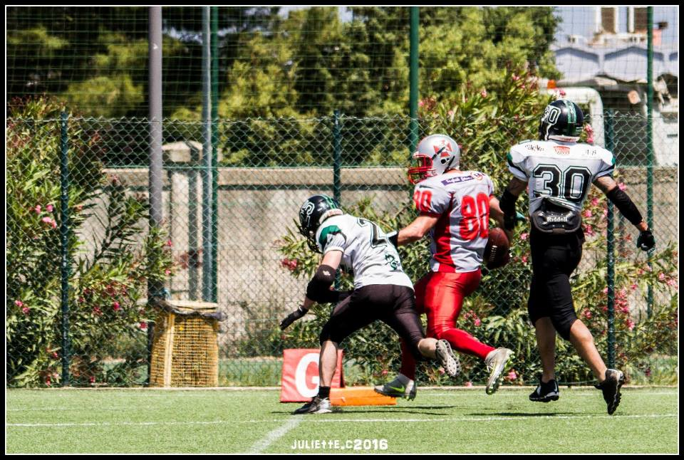 Il touchdown in progressione di Matia Pisu (Foto Giulia Congia)