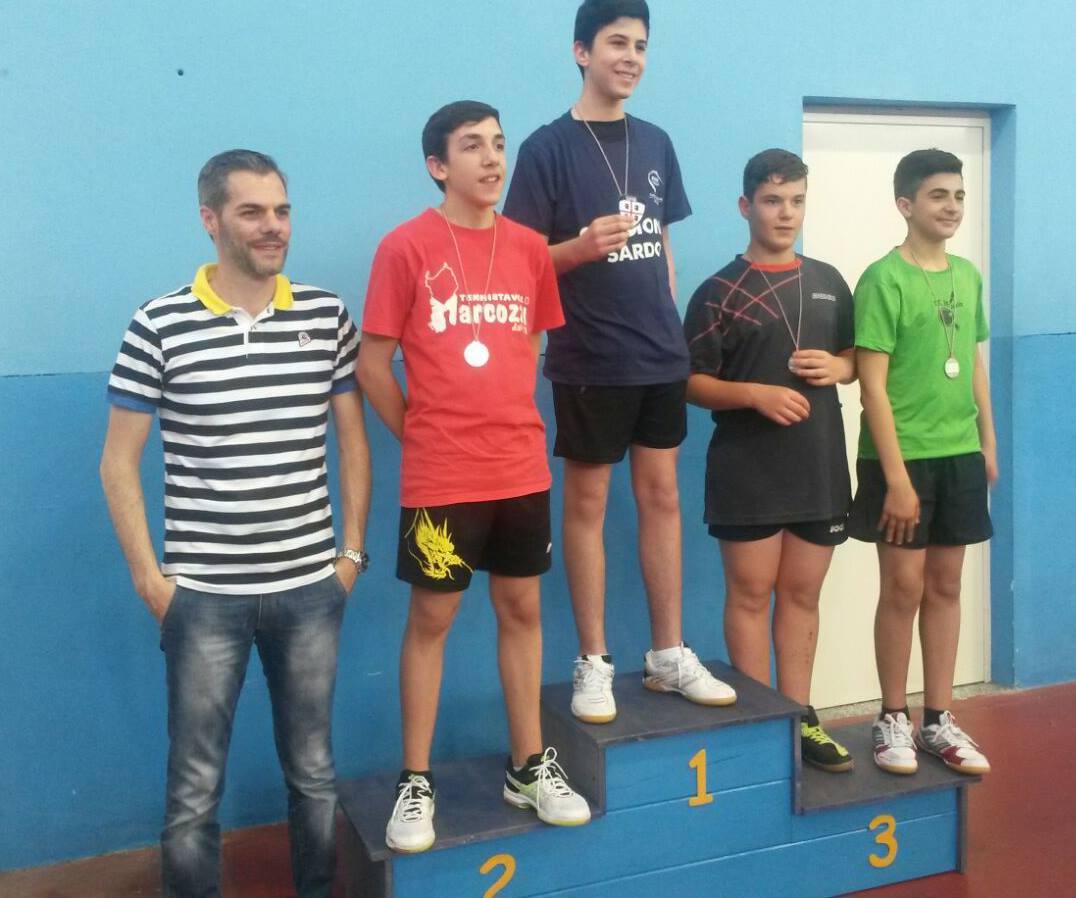 Il podio Allievi maschile (Foto Luciano Saiu)